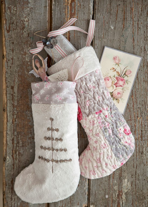 Tilda Sweet Christmas faux fur and quilted christmas stockings