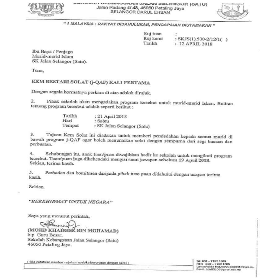 Makluman Surat Kem Bestari Solat J Qaf Sk Jalan Selangor Satu