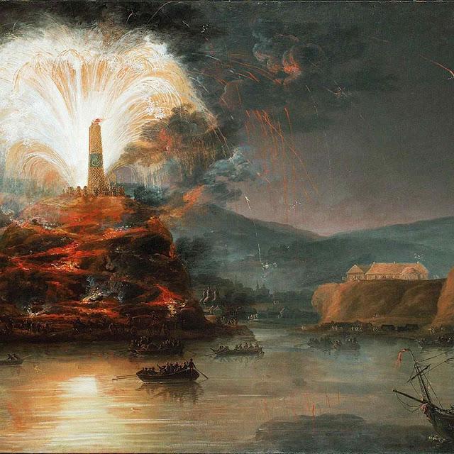 Fogos artificiais  em Kaniów, Crimeia para a czarina Catarina II da Rússia ver. Jan Bogumi Plersz (1732-1817), Lviv National Art Gallery.