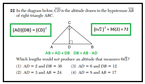 X why daily regents right triangle altitude theorem january 2016 common core geometry january 2016 question 22 ccuart Choice Image
