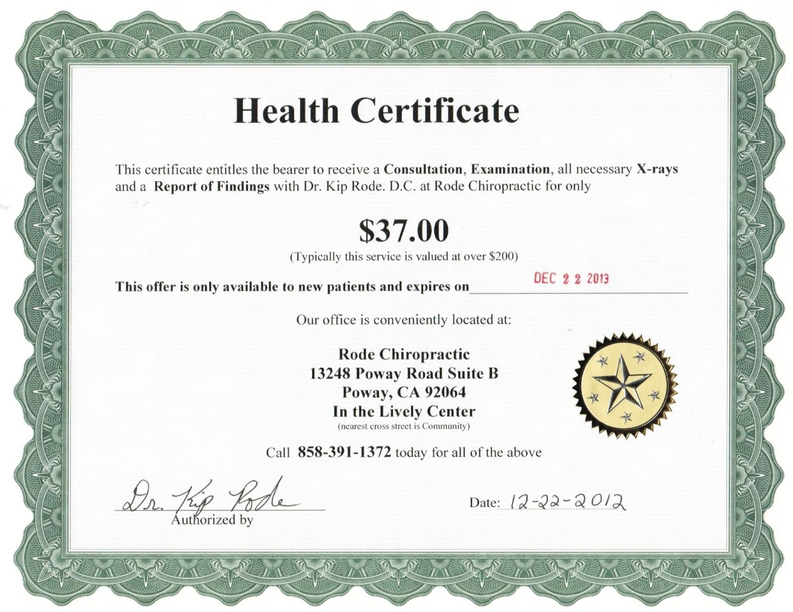 health certificate chiropractic healthy visa wellness start right applications documents required rode patient chiropractor poway kip dr website rude lifestyle