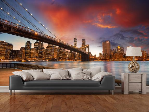 Tapetti Kaupunki Valokuva Taustakuva New York taustakuva Brooklyn Bridge auringonlaskun lounge fontapet kaupunki