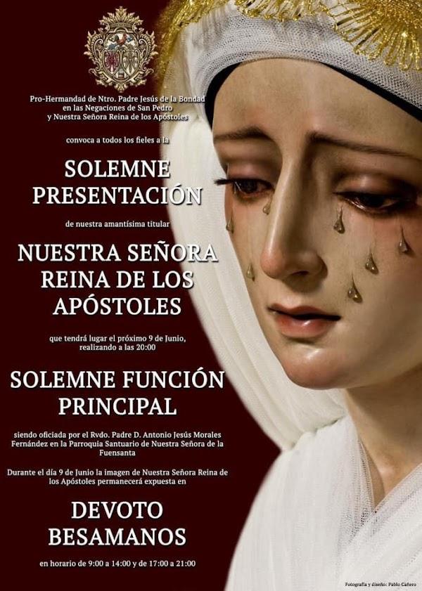 Nuestra Señora Reina de los Apóstoles se presentará como titular de la prohermandad de la Bondad
