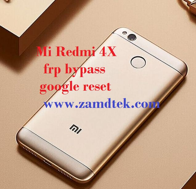MI Redmi 4X android frp bypass, google reset and pattern removal