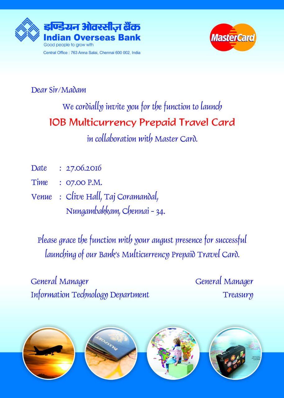 Iob forex card