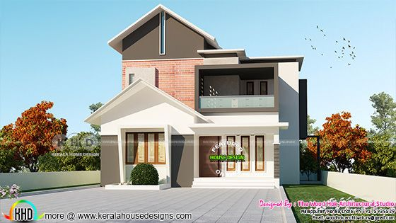 Sloping roof mix 4 bhk home 1845 square feet