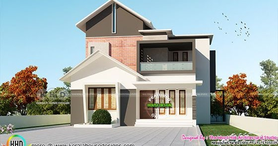 Sloping Roof Mix 4 Bhk Home 1845 Square Feet Kerala Home