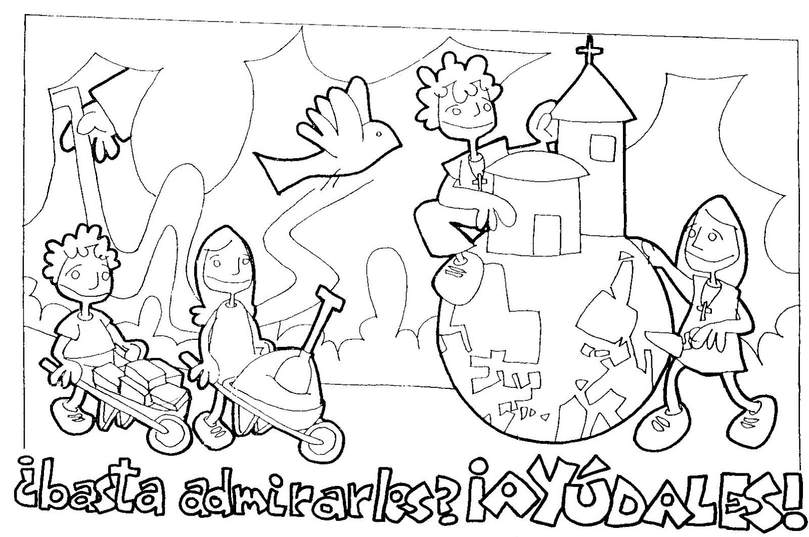 Las Misiones Y Los Niños Dibujos Para Colorear De Niños: ReliArtes: Dibujos Domund