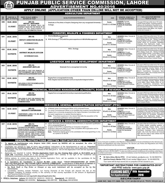 Latest PPSC Jobs in Punjab 2016