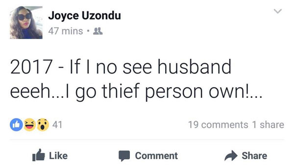 See what an Igbo lady posted that caused drama on Facebook