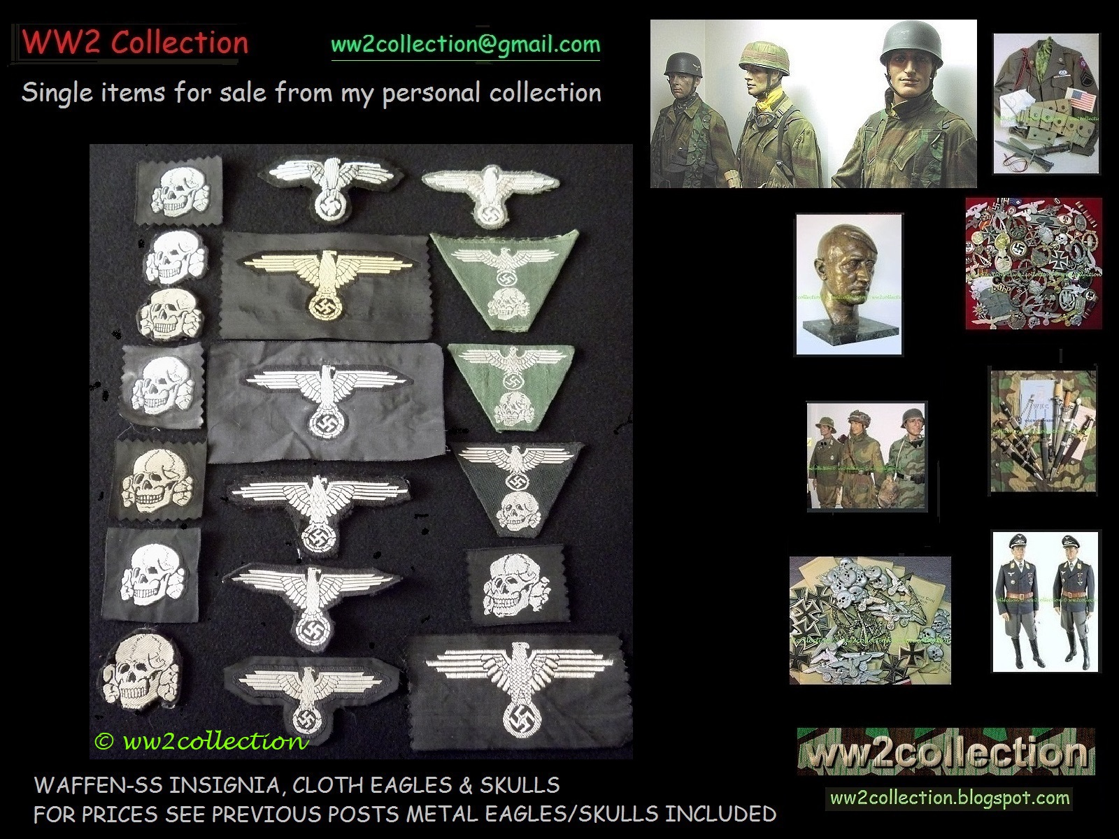 WW2 Collection Price List of my Private Collection Liquidation: SS