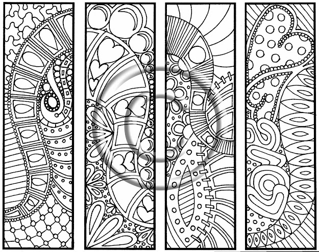 Digital Download Coloring Page Hand Drawn Hearts Are Trump Bookmarks  Hippie Abstract Zendoodle Bookmark