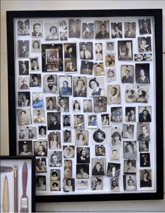 oversized photo shadow box, displaying family photos