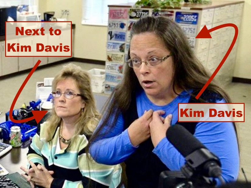 Kim Davis, Kentucky County Clerk who hates the gays and a hapless coworker 2015