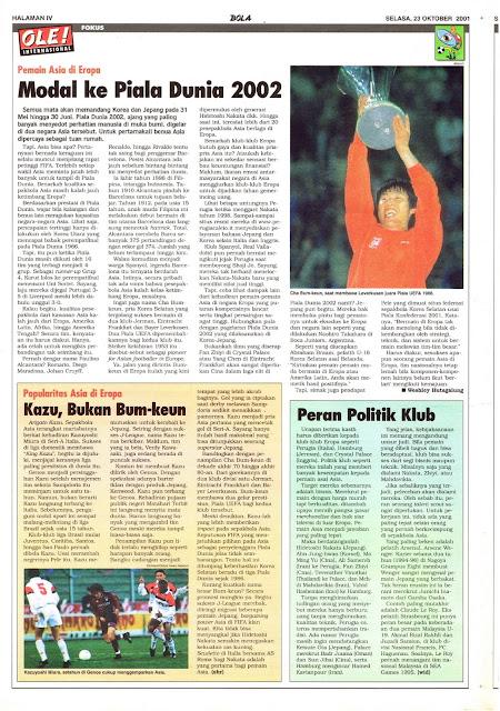 PEMAIN ASIA DI EROPA MODAL KE PIALA DUNIA 2002