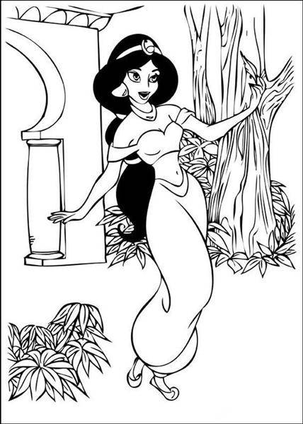 disney princess coloring pages jasmine and aladdin Free Coloring ... | 600x428