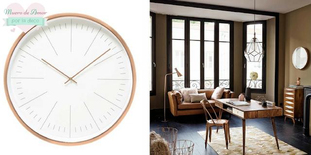 Decoracion en color cobre-Reloj