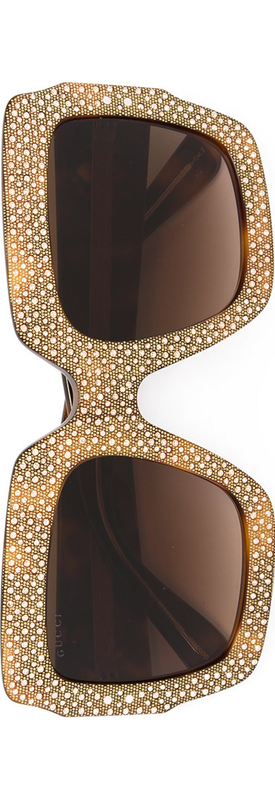 GUCCI EYEWEAR Oversize Crystal Square Sunglasses
