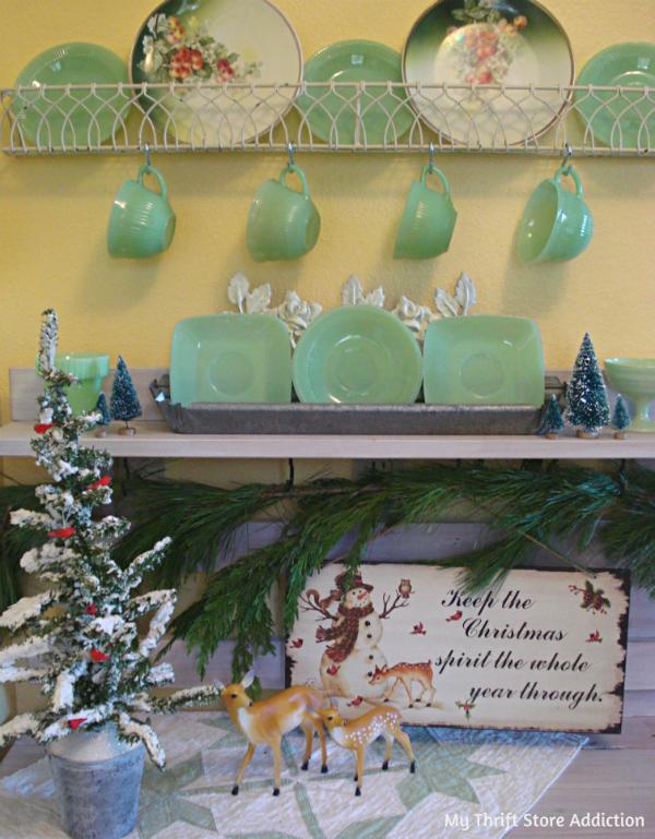 Vintage jadeite Christmas vignette