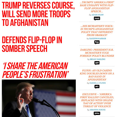 Breitbart — now with Bannon — covers Trump s Afghanistan speech.
