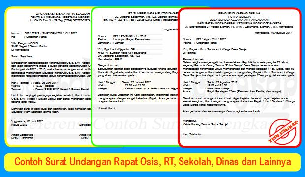 Contoh Surat Undangan Rapat Osis Rt Sekolah Dinas Dll