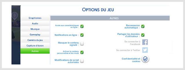 contenu personnalisé option du jeu sims 4