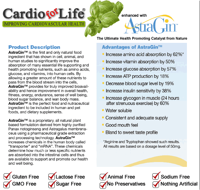 Cardio For Life Contains AstraGin