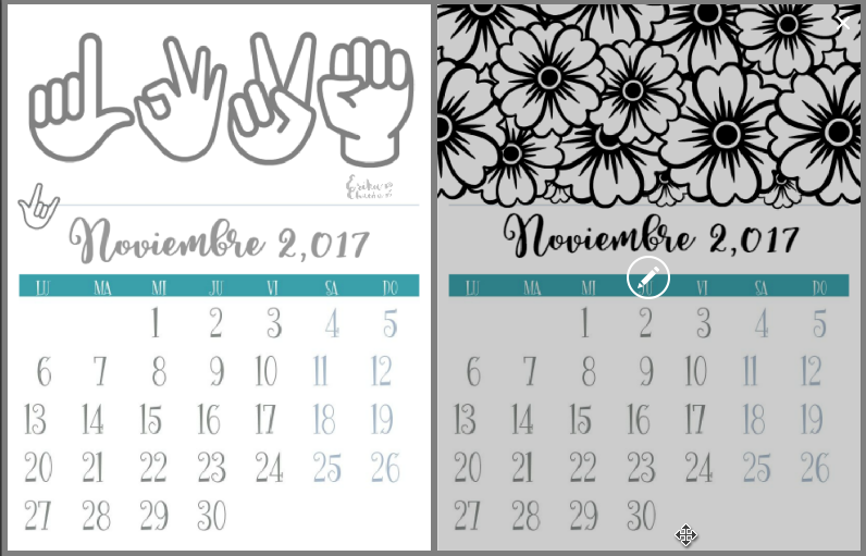 Reciclando con Erika : Calendarios de Noviembre para colorear