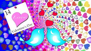 Valentijns Achtergrond met vogels en veel hartjes in alle kleuren.
