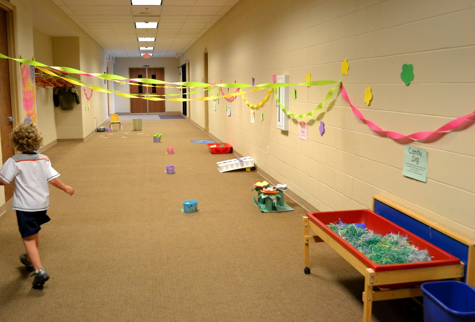 From The Hive  Easter Party  preschool style Each class rotates through these three stations  games in the hall  outside  play  sidewalk chalk  big room play  It s our enrichment room with all the  toys