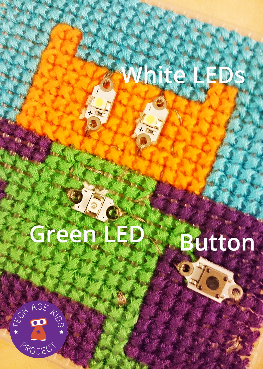 Project Etextiles With Cross Stitch And Leds In Parallel Led Circuit Battery Holder Tutorials Use The Conductive Thread To Secure Negative Side Of Using Several Over Stitches Make Sure You Have A Good Connection