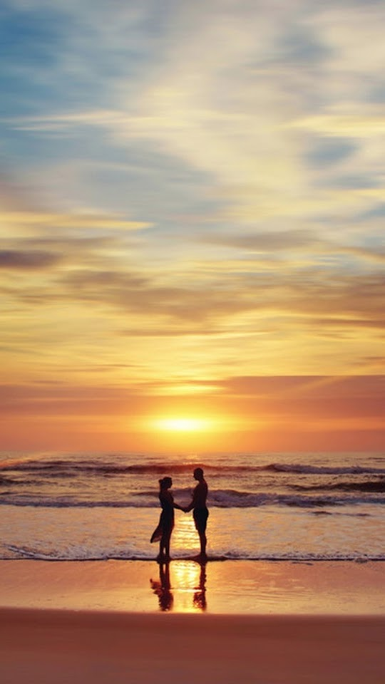 Woman and Men Silhouetted At The Twilight   Galaxy Note HD Wallpaper