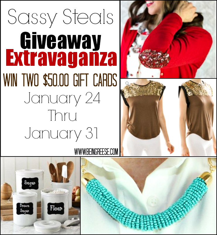 Two 50.00 dollar Sassy Steals gift cards up for grabs