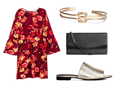 Chinese New Year Style Outfits H&M Dress with Flounced Sleeves | Bangle | Clutch Bag | Peep-Toe Mules
