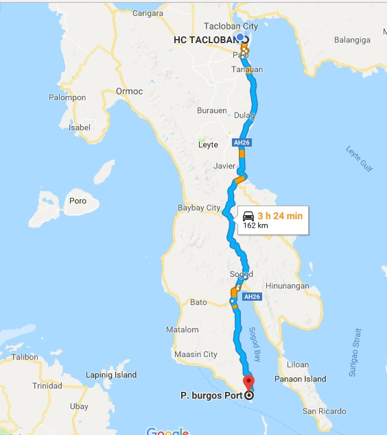 tacloban to padre burgos port, google map