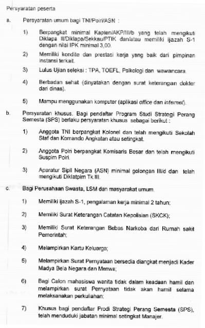 INFO KULIAH GRATIS S2 BIDANG PERTAHANAN UNTUK PNS/ASN, POLRI, TNI DAN MASYARAKAT UMUM TAHUN 2017