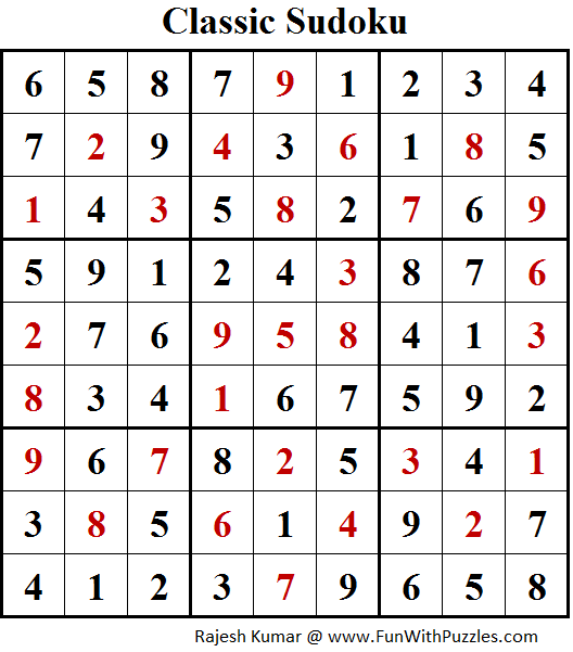 Original Sudoku (Fun With Sudoku #171) Solution
