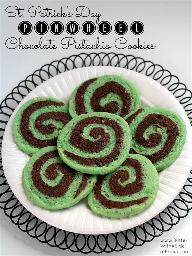 Chocolate Pistachio Pinwheel Cookies St. Patrick's Day: Butter with a Side of Bread