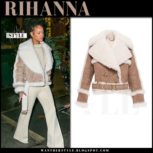 Rihanna in camel suede shearling jacket burberry and cream pants what she wore
