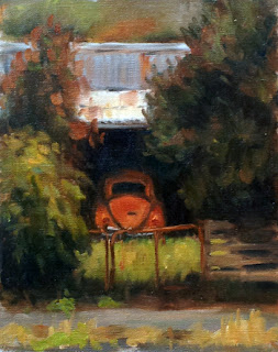 Oil painting of a faded red Volkswagen Beetle in a shed with a rusty roof flanked by trees.