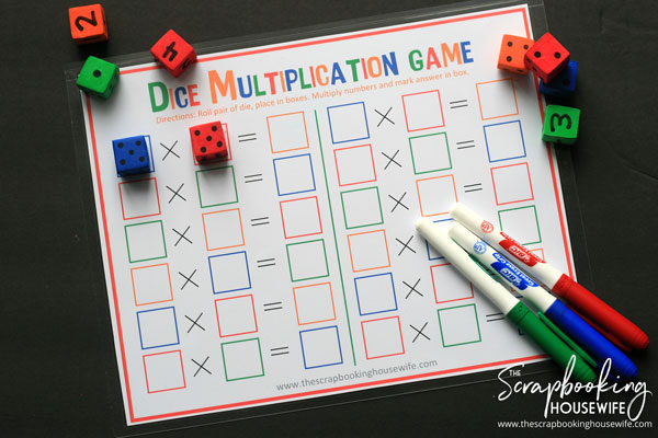 Dice Multiplication Math Game for Kids - Free Printable by Ellabella Designs