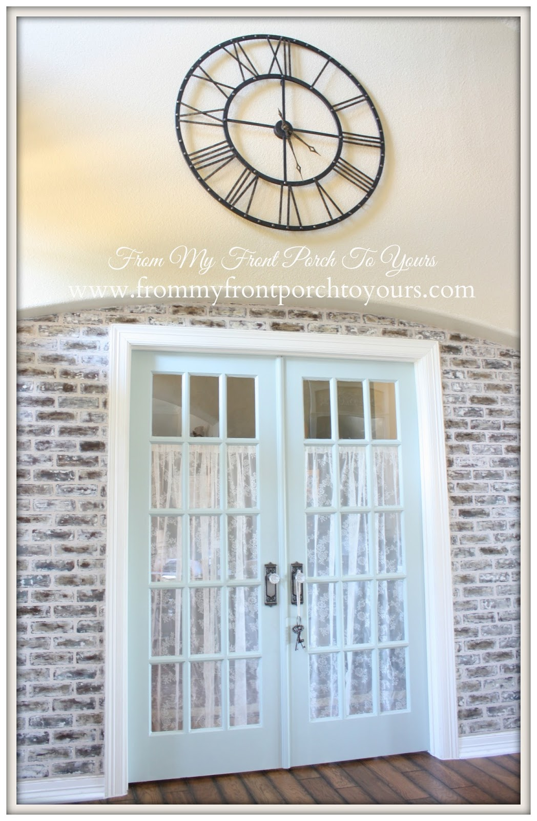 Alvin Spets Lace CurtainsFrench Farmhouse-XLarge Wall Clock Kirklands-DIY Faux Brick Wall- From My Front Porch To Yours