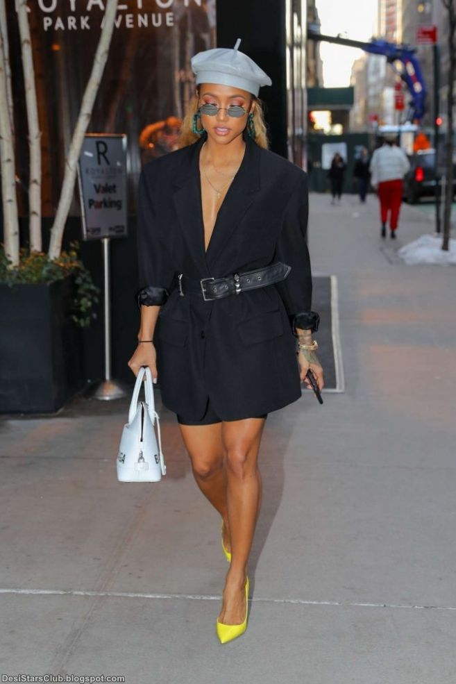 Karrueche Tran in Black Skirt Photos in New York City