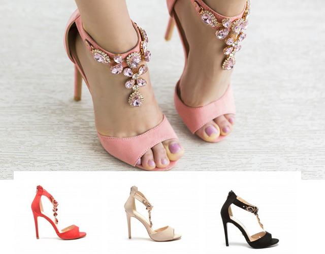 sandale cu pietre cu toc de ocazie