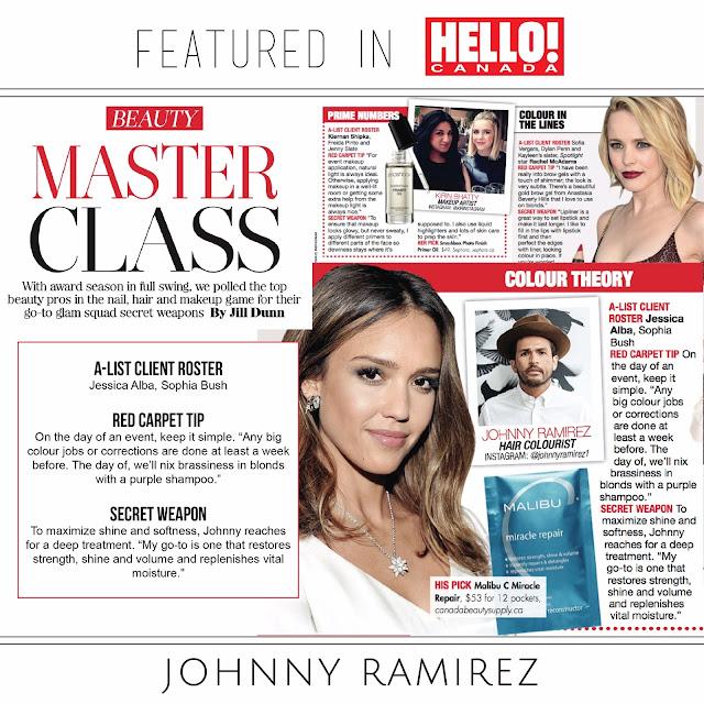 Press, Johnny Ramirez, Ramirez Tran Salon, Johnny Ramirez color, Hello!, Hello! Canada, Hello! Magazine, Jessica Alba Hair Secrets