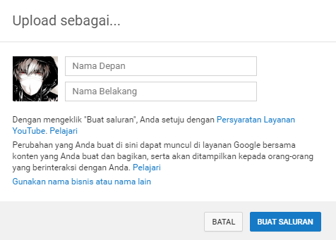 Buat Saluran Youtube