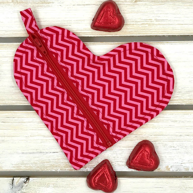 Heart-Shaped Zipper Pouch By Thistle Thicket Studio. www.thistlethicketstudio.com