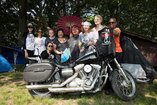 Group club shot from Babes Ride Out East Coast, an all women motorcycle camping event