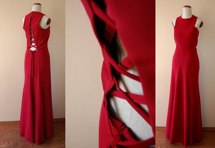 Długa suknia ze sznurowaniem