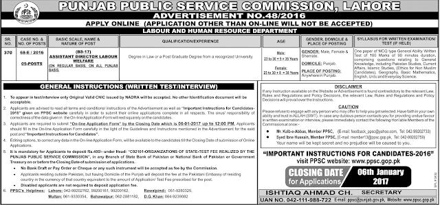Assistant Directors Jobs in PPSC